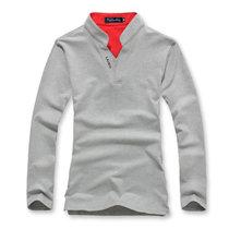 新款 男士个性韩版男装上衣领 休闲长袖T恤(灰色 XXXL)