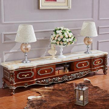 永旭家具 欧式大理石茶几电视柜组合 天然大理石实木套装家具622(低柜