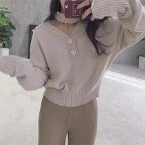 韩版早秋正反两穿式女士毛衣前后大V领复古短外套针织衫(杏色 均码)