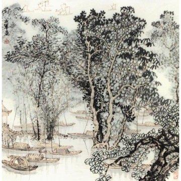 小品2> 国画 山水画 水墨写意 墨石 野菠萝痴人 山水 树木 船 斗方
