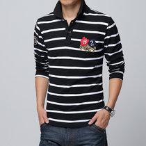 花花公子贵宾棉翻领男士长袖T恤 男式长袖紧身汗衫打底衫男运动修身春夏装J1611(黑色)