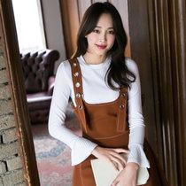 Mistletoe2017韓版時尚背帶套裝女寬松兩件套打底衫半身短裙(巧克力色 XL)