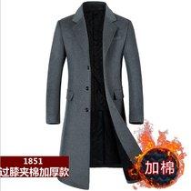 男士羊毛呢大衣过膝长款加棉加厚韩版修身毛呢外套风衣1851(黑色 XL/180)