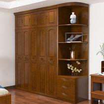 恒興達 中式實木衣柜大衣柜 轉角邊柜23456門木質臥室大衣櫥現代簡約家具(拍下顏色備注 不加邊柜不加頂柜)