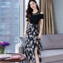 女 35岁到45的收腰小不点同款裙子胖妹妹藏肉25岁社会精神连衣裙(紫花)(2XL)