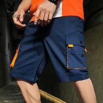 花花公子短裤男五分裤夏季薄款潮流潮牌工装裤宽松七分裤运动男士休闲裤子  SDT2921(PB-SDT2921深兰 M)