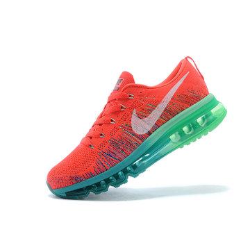耐克nike flyknit air max 彩虹编织气垫跑步鞋 情侣休闲鞋(红水绿 38图片