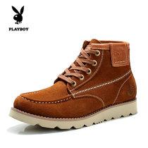 花花公子时尚潮流男靴子马丁靴?#34892;?#29275;皮工装靴短靴(棕色(皮鞋码) 42)