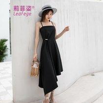 莉菲姿新款复古休闲黑色名媛气质性感吊带小黑裙晚礼服连衣裙(红色)