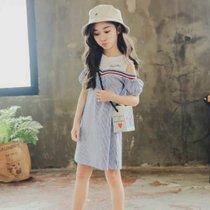 女童露肩連衣裙夏裝2019新款兒童夏季超洋氣裙子小女孩網紅大童裝(s 白)