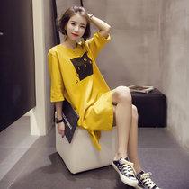 Mistletoe2017新款半袖衣服女装夏季韩版短袖t恤女士上衣(黄色 XL)