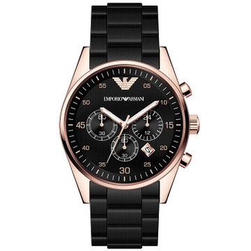 阿玛尼(ARMANI)手表 多功能三眼运动 意大利简约时尚非机械石英男士腕表 AR5905(AR5905黑色 钢带)