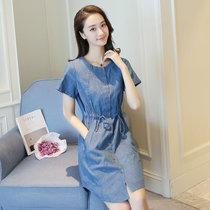 Mistletoe2017夏收腰中长款女装牛仔裙 衬衫短袖牛仔连衣裙潮A字裙(蓝色 M)