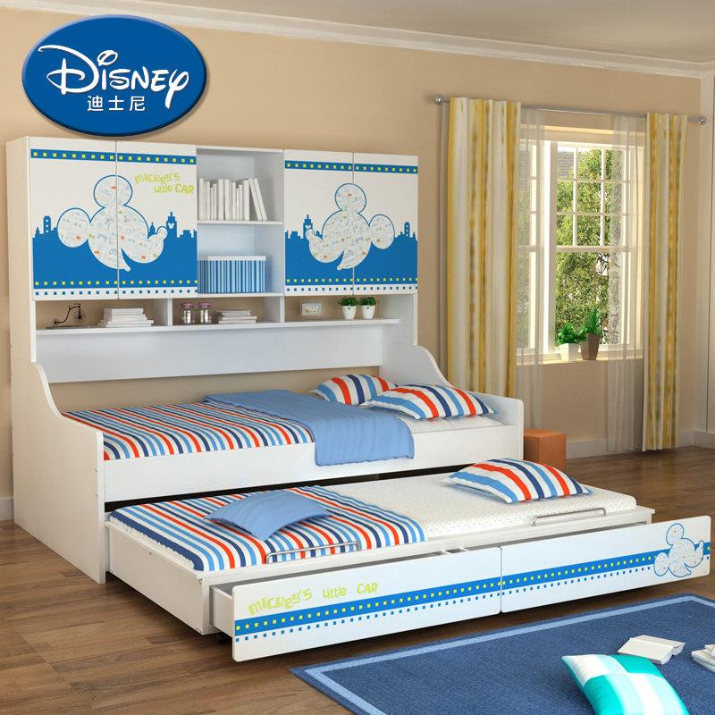 迪士尼 汽车 米奇 维尼 卡通儿童床 多功能组合床收纳