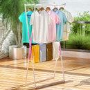 索尔诺晾衣架 落地折叠防锈双杆式室内晾晒架阳台 家用晒被子架X51(粉色)