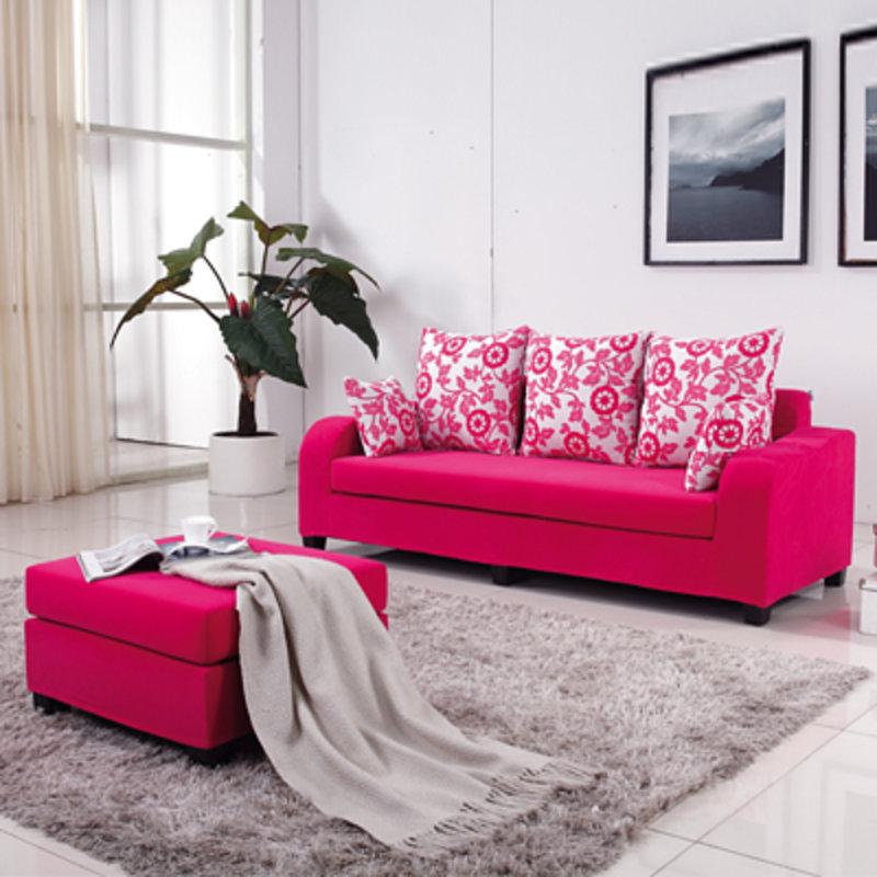 小户型精致三人位加脚踏布艺沙发 布沙发组合(暗红色格子 豪华版)