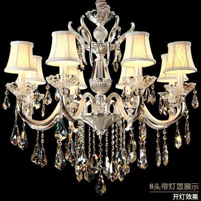 现代艺术客厅吊灯白色 简约时尚欧式卧室水晶灯 锌合金蜡烛灯包邮(10