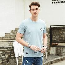 吉普盾男士圓領短袖T恤舒適棉夏裝新款短t男裝短款打底衫夏季T恤男(BST1977淺藍 XXXL)