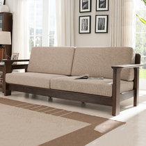 恒兴达 白橡木纯实木沙发三人沙发粗腿全实木沙发布艺北欧沙发1+2+3组合(胡桃色 单人位)