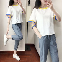 2018夏季新款套装圆领短袖T恤+哈伦九分裤休闲 上衣+九分裤(上衣+九分裤)(XXL)