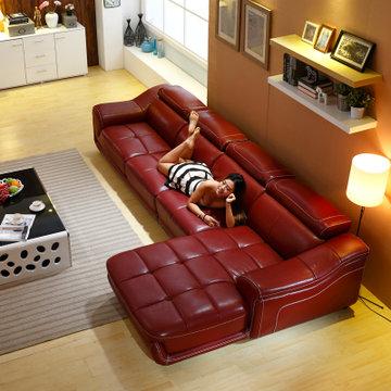 客厅组合家具 现代时尚皮沙发简约客厅搭配家具皮艺沙发 vip1(酒红色