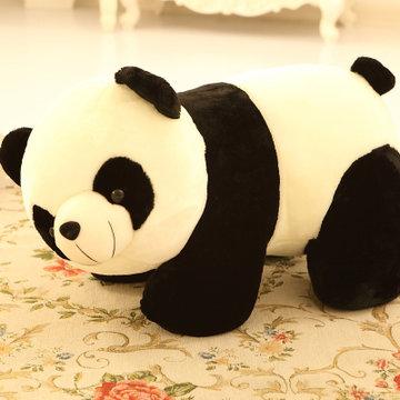 可爱大号大熊猫公仔毛绒玩具 趴趴熊抱枕布娃娃(黑白熊猫 65cm)