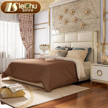 蕾舒后现代真皮床主卧室简约双人酒店床样板房港式轻奢家具(舒适版1.8X2 床)