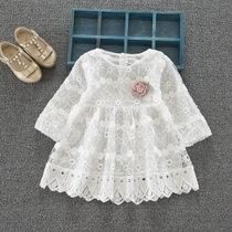 0-3岁女宝宝连衣裙长袖春秋季新款韩版婴幼儿公主裙周岁洋气礼服(90cm/码标XL)(Ybe-363白色圆)