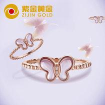紫金黄金(ZiJin)18K彩金项链戒指手链翼起飞厦门时尚周蝴蝶套系