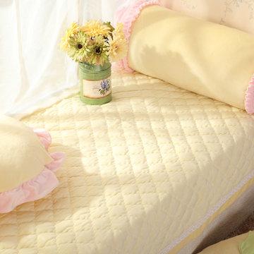 居家爱家纺 韩式小清新飘窗垫 超柔短毛绒压蕾丝花边窗台垫(嫩黄 90*