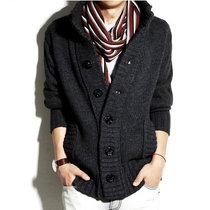 B 男士毛衣韩版针织衫男立领开衫男秋装外套  粗毛线针织衫 Y8029(烟灰色)