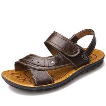 米斯康凉鞋 男 沙滩鞋 夏季休闲透气男士皮凉鞋 头层牛皮两穿沙滩凉鞋5851(棕色 44)