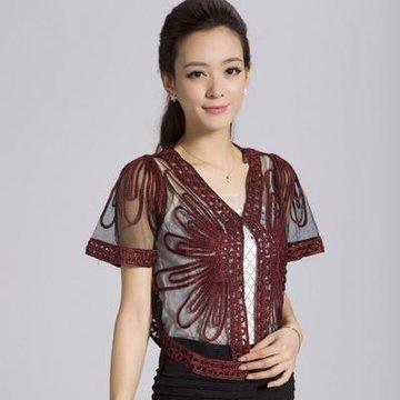 逸方伊阁 2013夏季新款纯手工编织小外套披肩061817(223酒红色)