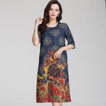 恒源祥2019新款中老年女夏装短袖连衣裙时尚妈妈装大码印花雪纺裙F(1028蓝色 L)
