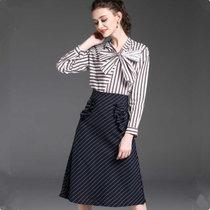 素芬 时尚职业装休闲条纹长袖女衬衫条纹半身裙气质套装百搭秋装中长款连衣裙(条纹 XL)
