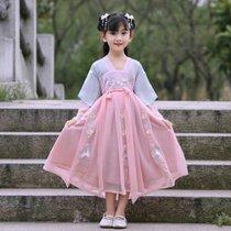 兒童演出服古裝女童漢服春夏襦裙刺繡中國風改良日常連衣裙仙女服八件裝(xs 白)