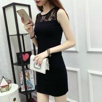 2018夏季韩版外穿蕾?#24247;?#24102;背心裙女打底修身包臀中长款大码连衣裙 黑色蕾丝(黑色蕾丝)