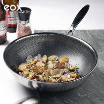 eox304双面全屏不锈钢炒锅 无油烟不粘锅 平底炒菜锅具