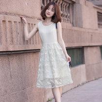 BEBEERU新款女裝夏裝韓版修身顯瘦中長款無袖雪紡蕾絲時尚羽毛連衣裙  TF連衣裙(玫瑰白-TF連衣裙 M)