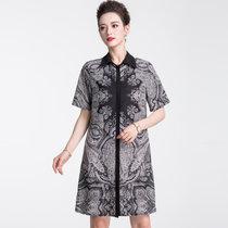 恒源祥中老年雪纺连衣裙女19夏短袖衬衫裙妈妈装中长款印花裙大码F(黑色 180/100A)