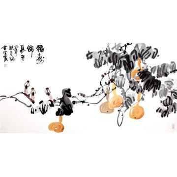 福寿绵长> 国画 花鸟画 水墨写意 瀚公 古风堂主人 葫芦 鸟 横幅