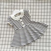 两岁宝宝夏装女娃娃领条纹海军风连衣裙女婴儿裙女童夏季裙子短袖(藏蓝白条纹娃娃领裙)(100cm/码标98)