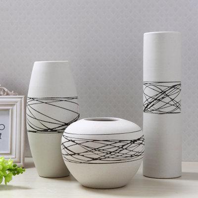 欧式陶瓷摆件白色线条三件套陶瓷花瓶 家居装饰品摆设