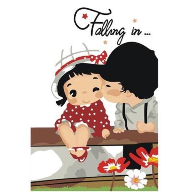 diy数字油画 甜蜜亲吻姿态 20x30cm装饰画卡通绘画