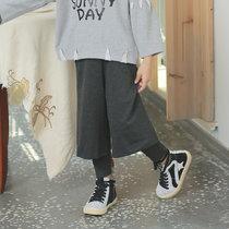 2019春季新款儿童裤子中小童长裤 韩版女童假两件阔腿裤(140 深灰)