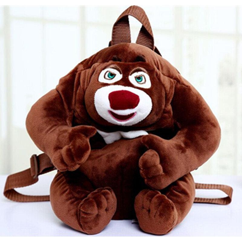 熊出没毛绒公仔双肩书包 背包 熊大 熊二 毛绒玩具儿童(熊大书包 27*