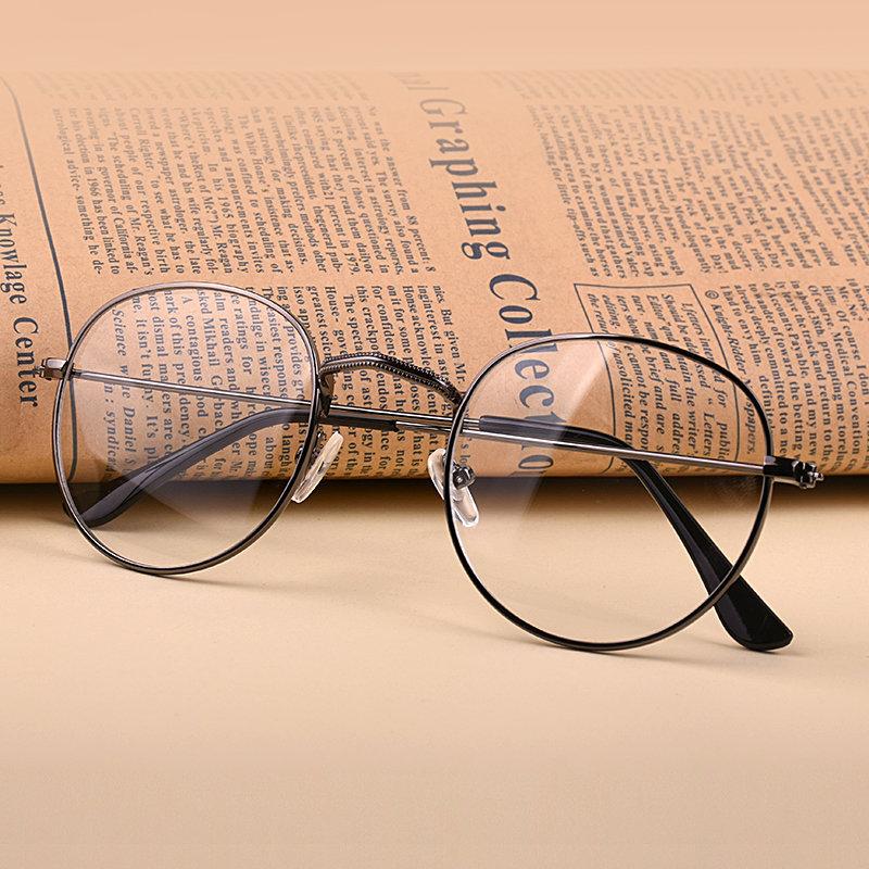 文艺圆形金属眼镜框眼镜女成品复古平光镜男韩版潮可配(银色)(平光