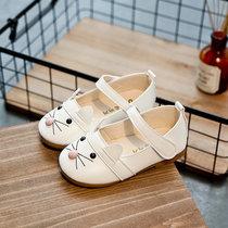 童伊诺 TONGYINUO 童鞋2017秋季猫咪平底单鞋魔术贴公主单鞋1-3岁儿童鞋小女孩皮鞋(白色 30码18.7cm)