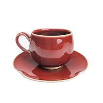 日本直采 京都传统产业交流中心京烧清水烧辰砂咖啡杯和托盘