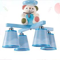 美吉特 兒童房可愛吸頂燈卡哇伊男孩女孩臥室燈具卡通創意個性小熊LED燈飾現代可愛燈具(藍色)